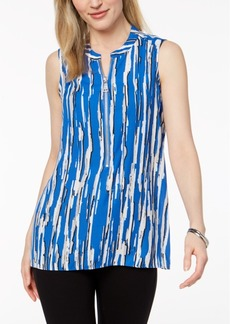 Alfani Petite Printed Zip-Front High-Low Top, Created for Macy's
