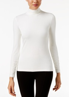 Alfani Petite Ruched Turtleneck Top, Created for Macy's