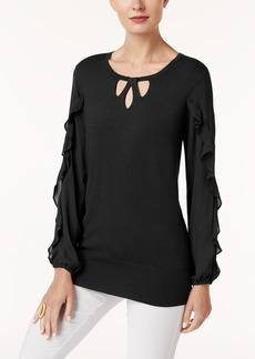 Alfani Petite Ruffle-Sleeve Keyhole Sweater, Created for Macy's