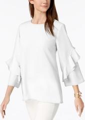 Alfani Ruffled-Sleeve Zip-Back Top, Created for Macy's