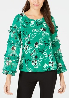 Alfani Printed Ruffled-Trim Bubble Top, Created for Macy's