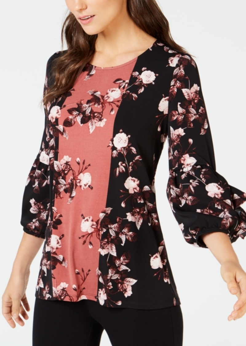 Alfani Petite Ruffled-Sleeve Floral-Print Top, Created for Macy's