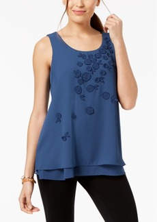 Alfani Tiered-Hem Applique Top, Created for Macy's