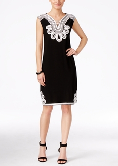 Alfani Petite Sleeveless Embroidered Shift Dress, Only at Macy's