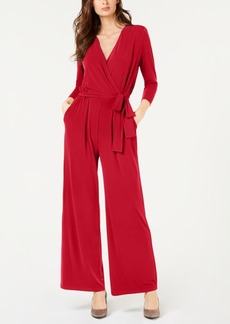 Alfani Belted Surplice Jumpsuit, Created for Macy's