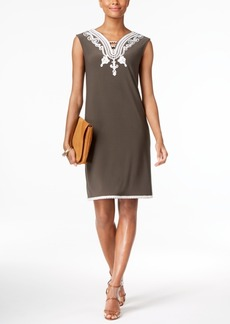 Alfani Soutache-Trim Shift Dress, Created for Macy's