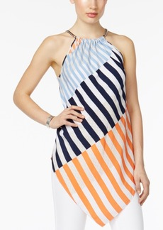 Alfani Petite Striped Chain-Neck Halter Top, Created for Macy's