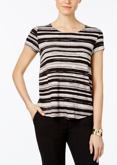 Alfani Petite Striped Shirttail Top, Created for Macy's