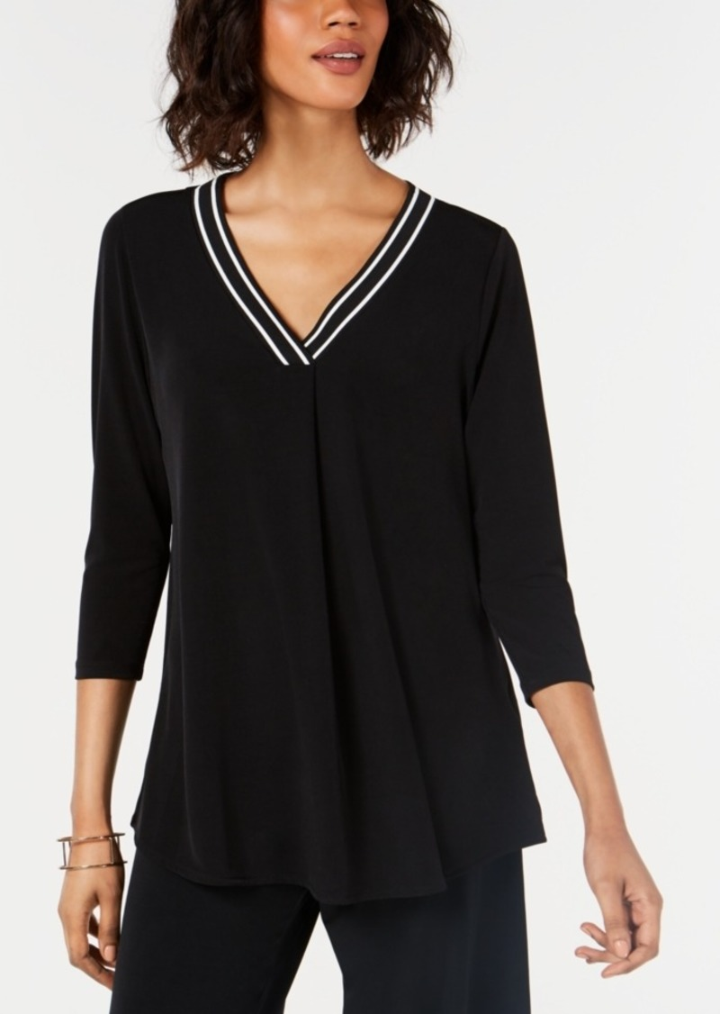 Alfani Solid Trim Sweater Top, Created for Macy's
