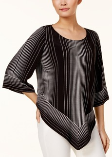 Alfani Petite Striped V-Hem Top, Created for Macy's