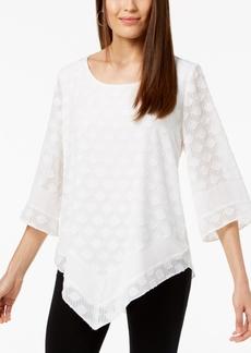Alfani Petite Textured V-Hem Top, Created for Macy's