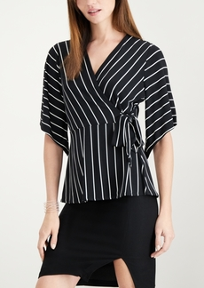 Alfani Petite Tie-Detail Surplice Top, Created for Macy's