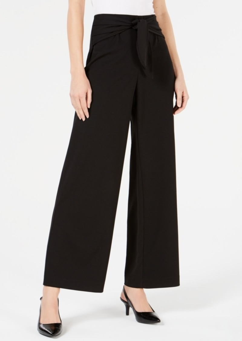 Alfani Petite Tied High-Waist Wide-Leg Pant, Created for Macy's