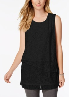 Alfani Petite Tiered-Hem Burnout Top, Created for Macy's