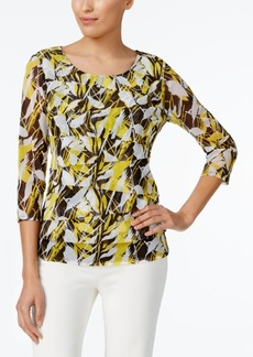 Alfani Petite Tiered Leaf-Print Top, Created for Macy's