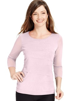 Alfani Petite Tiered-Mesh Illusion-Sleeve Top, Created for Macy's