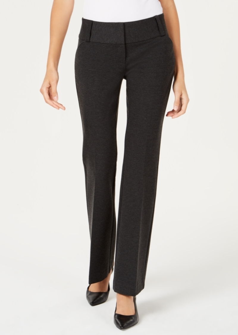 Alfani Petite Tummy-Control Faux-Leather-Trim Pants, Created for Macy's