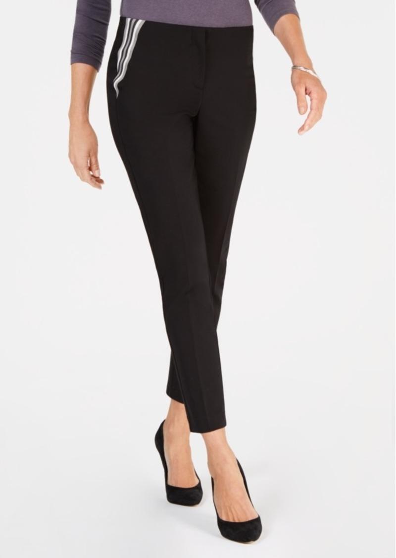 Alfani Petite Varsity-Striped Skinny Pants, Created for Macy's