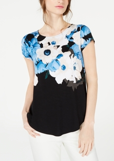 Alfani Petite Wave-Print Top, Created for Macy's