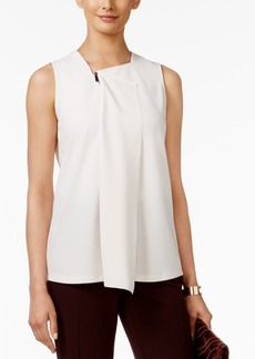 Alfani Petite Zipper-Detail Drape-Front Top, Only at Macy's