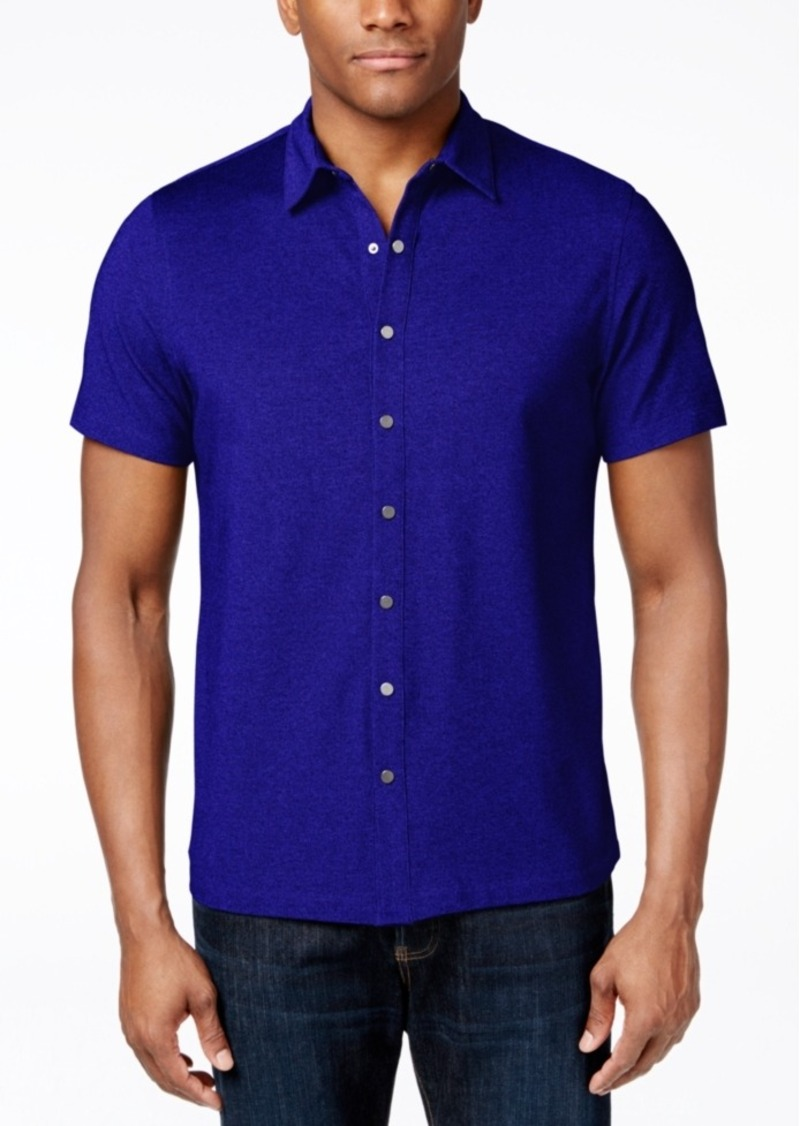 Alfani Big and Tall Pique Short-Sleeve Shirt, Only at Macy's