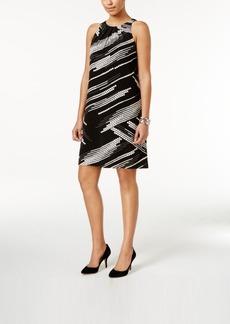 Alfani Pleat-Neck A-Line Dress, Only at Macy's