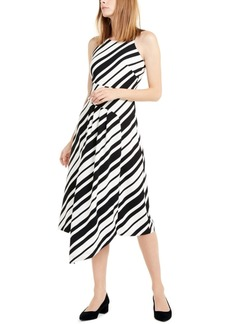 Alfani Pleated Asymmetrical-Hem Dress, Created For Macy's