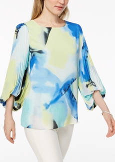 Alfani Petite Printed Pleated-Sleeve Top, Created for Macy's