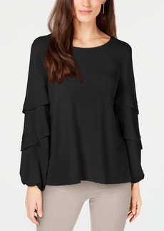 Alfani Pleated Tiered-Sleeve Top, Created for Macy's