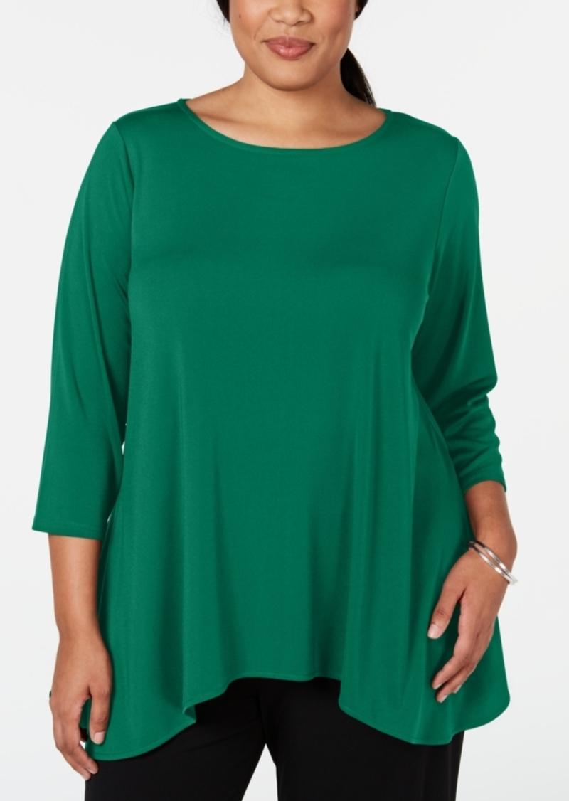 Alfani Plus Size 3/4-Sleeve Swing Top, Created for Macy's