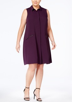 Alfani Plus Size A-Line Shirtdress, Created for Macy's