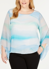 Alfani Plus Size Angel-Sleeve Blouse, Created for Macy's