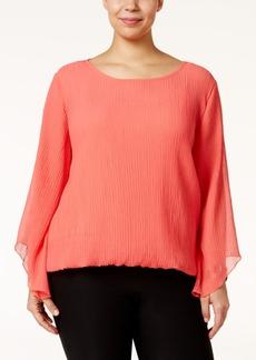 Alfani Plus Size Angel-Sleeve Blouson Top, Only at Macy's