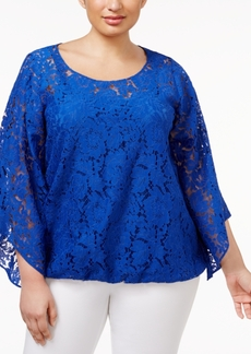 Alfani Plus Size Angel-Sleeve Lace Top, Only at Macy's
