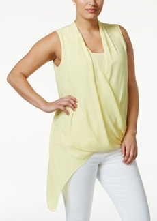 Alfani Plus Size Asymmetric-Hem Surplice Top, Only at Macy's