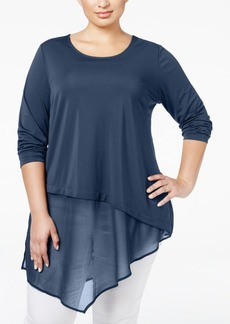 Alfani Plus Size Asymmetric Mixed-Media Tunic, Only at Macy's