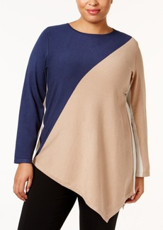 Alfani Plus Size Asymmetrical Colorblocked Sweater, Only at Macy's
