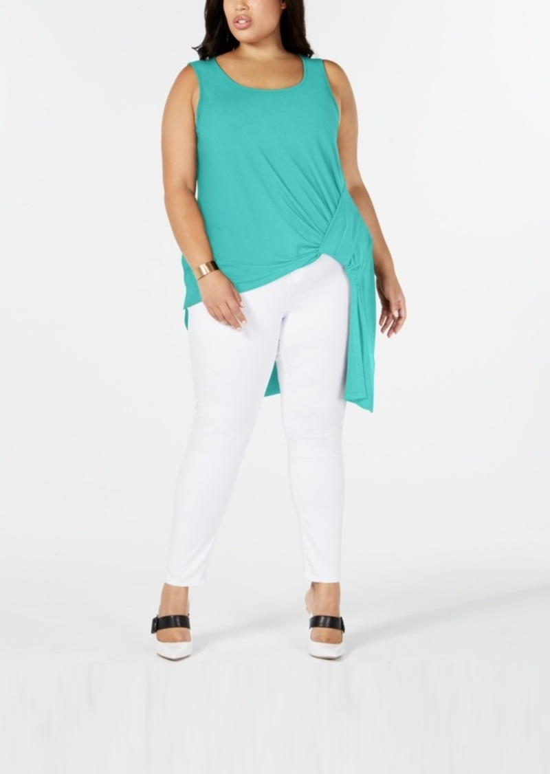 Alfani Plus Size Asymmetrical Side-Gathered Top, Created for Macy's