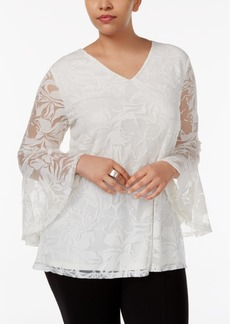 Alfani Plus Size Bell-Sleeve Burnout Top, Only at Macy's