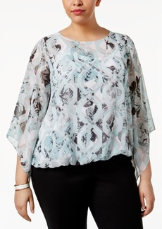 Alfani Plus Size Bell-Sleeve Printed Blouse, Only at Macy's
