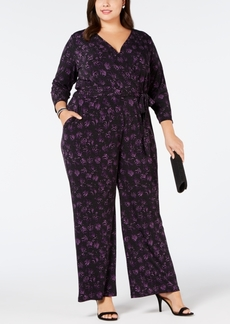 Alfani Plus Size Belted Printed Jumpsuit, Created for Macy's