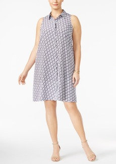 Alfani Plus Size Printed Trapeze Shirtdress, Created for Macy's
