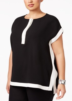 Alfani Plus Size Boxy Colorblocked Top, Only at Macy's