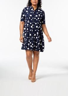 Alfani Plus Size Bungee-Hem Shirtdress, Created for Macy's