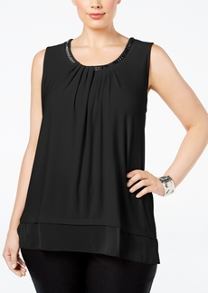 Alfani Plus Size Chain-Neck Layered Top, Only at Macy's