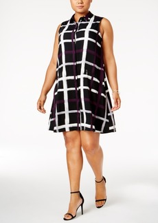 Alfani Plus Size Check-Print Shirtdress, Created for Macy's