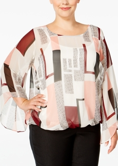 Alfani Plus Size Chiffon Angel-Sleeve Blouse, Only at Macy's