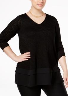 Alfani Plus Size Chiffon-Hem Sweater, Only at Macy's