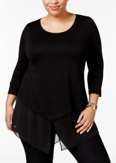Alfani Plus Size Chiffon-Hem Top, Only at Macy's