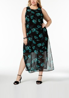 Alfani Plus Size Chiffon-Overlay Maxi Dress, Created for Macy's